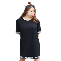 2017 Summer Women Dress Plus Size O Neck Short Sleeve Straight Black Dress Big Size XXXL