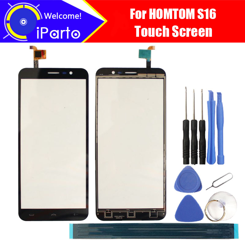 5.5 pollice HOMTOM S16 Digitizer Touch Pannello di Vetro Dello Schermo di 100% di Garanzia Originale Touch Screen In Vetro Per S16 + strumenti + adesivo