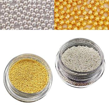 0.8mm Metal Micro Beads Stainless Steel Nails Art Caviar Micro Beads For 3D Nail Gold Silver Nail Beads Micro Decorations