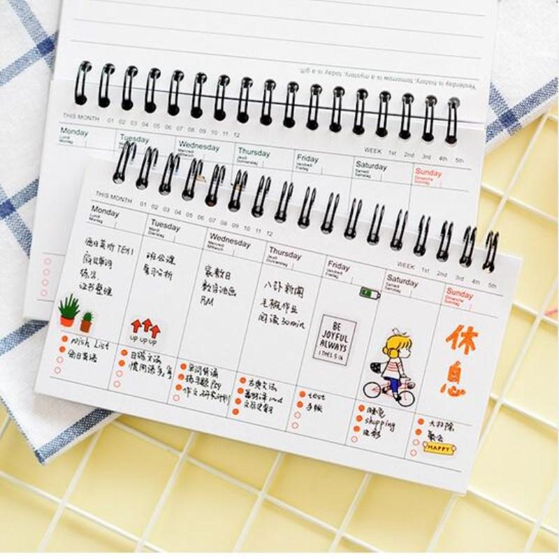 Kawaii Cute Panda Pvc Daily Weekly Planner Spiral Notebook Day Plan Diary Notebook Time Organizer School Supplies Agenda
