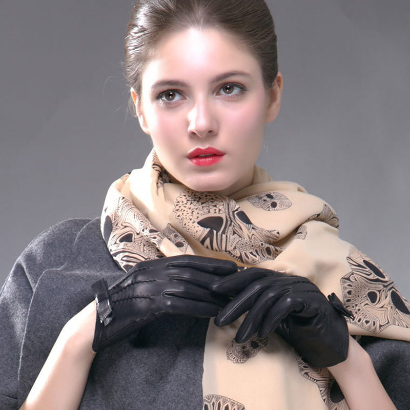 BOOUNI Genuine Leather Gloves Women Fashion Black Short Real Sheepskin Winter Thermal Thicken Bow knot Driving Glove NW113 in Women 39 s Gloves from Apparel Accessories