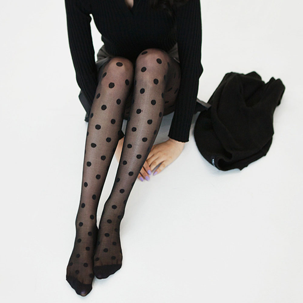 1PC Fashion Pantyhose Women Stretch Pants Black Big Dots Entirely Seamless Sexy Sheer Full Length Tights Female