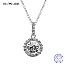 Shipei 100% 925 Sterling Silver White Sapphire Round Pendant Necklace for Women Gold Chain Fine Jewelry