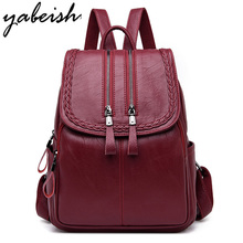 Fashion Women Backpacks Leather Double zipper Travel School Bag for Girls Solid Shoulder Bags Feminine Bagpack Mochila SAC a Dos
