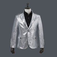 sequined collars rimmed suits men's tops singers costumes coat bar blazer men Casual Silver mens suits blazers