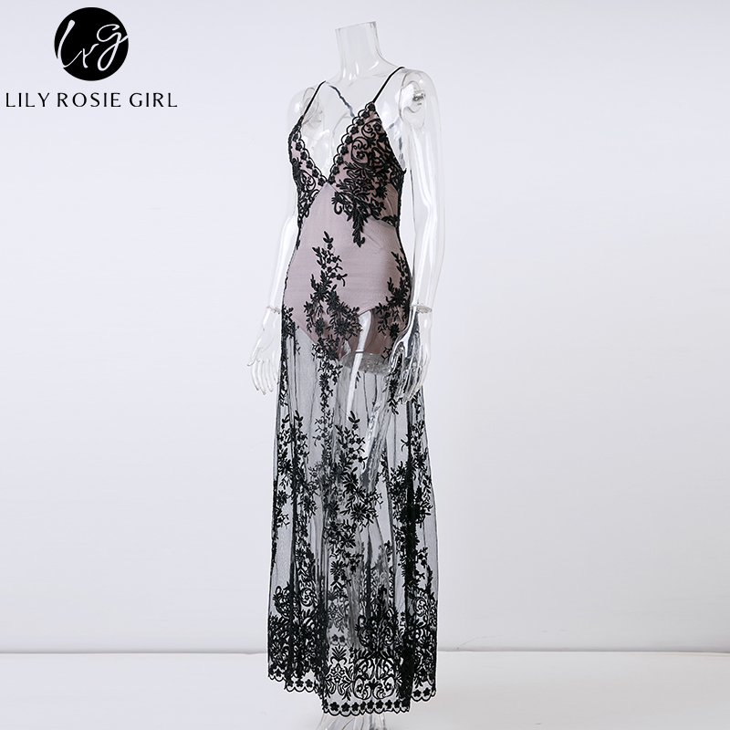 572713f452f8e US $19.99 50% OFF|Lily Rosie Girl White Deep V Neck Off Shoulder Sexy Mesh  Dress Women Summer Beach Lace Party Maxi Long Strap Dresses Vestidos-in ...