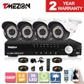 Tmezon AHD 4CH 4pcs 2.0MP 1080P CCTV Security System Day Night Waterproof IR Camera Alarm Systems Security Home Diy 1TB 2TB Kit