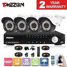 Tmezon AHD 4CH 4 pcs 2.0MP 1080 P Système de Sécurité CCTV Jour Nuit étanche IR Caméra Systèmes D'alarme de Sécurité Accueil Diy 1 TB 2 TB Kit