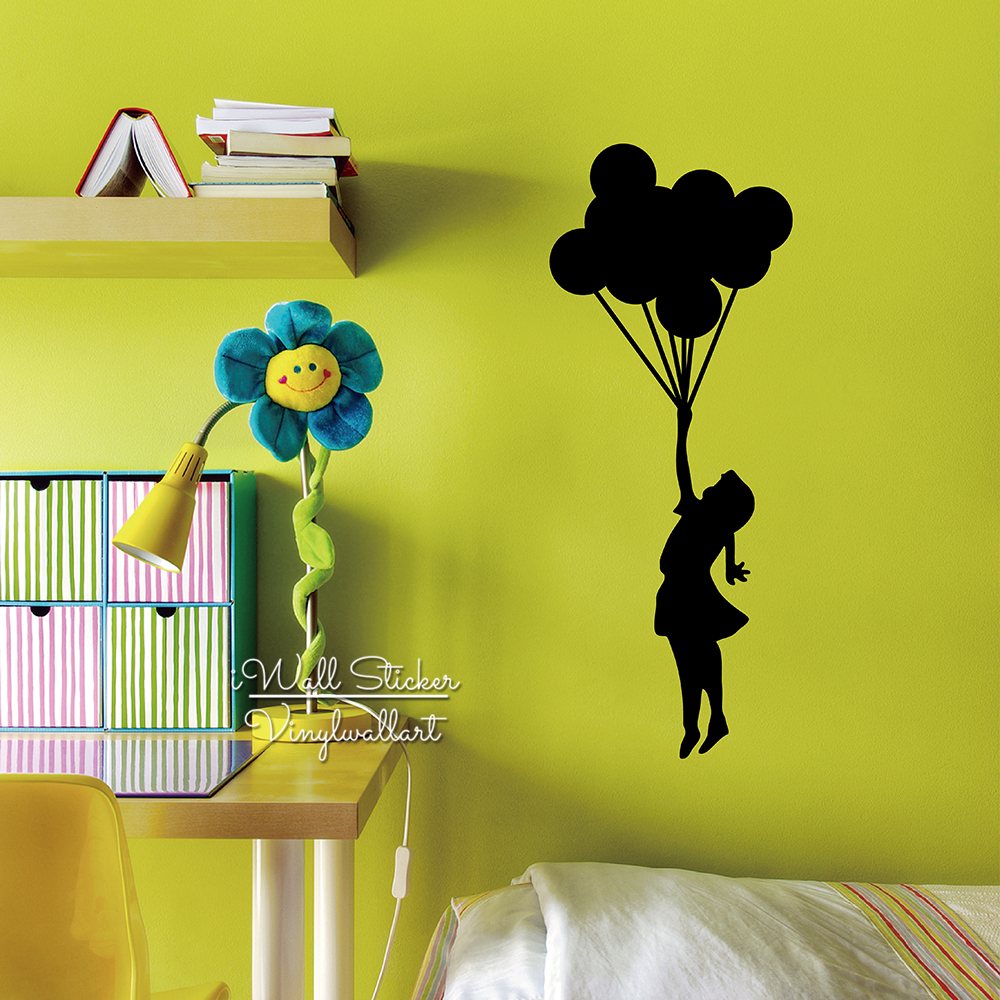 Girl Balloon Wall Sticker Girl Wall Decal DIY Modern Wall Decor Easy ...