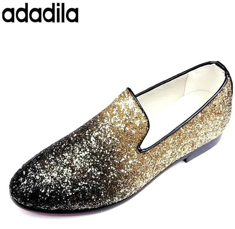 Sapatos 2017 primavera/outono homens sapatos de glitter sequins evening quinceanera vestido do baile de finalistas do regresso a casa de sapato masculino