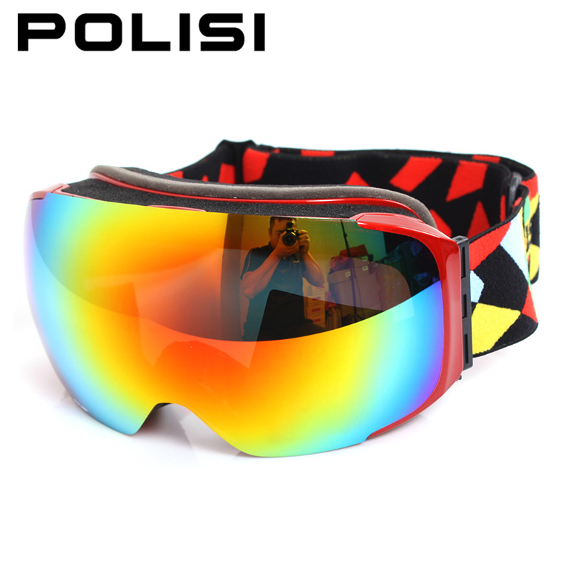 POLISI Winter Skiing Snowboard Eyewear Replaceable 2 Lenses Anti-Fog Goggles Men Women UV400 Snowmobile Ski Skate Snow Glasses polisi men women snowboard ski goggles uv protection anti fog double layer lens esqui snow glasses outdoor sports skate eyewear