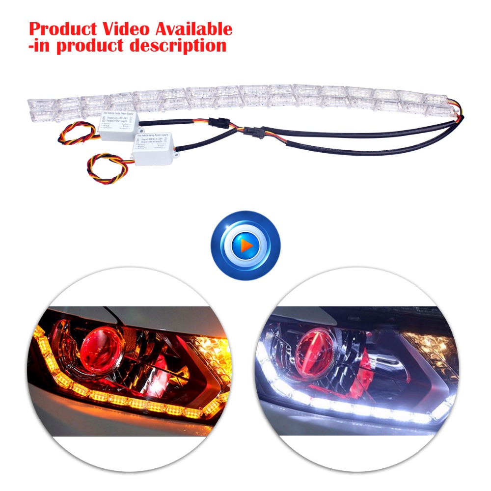 2Pcs Car Styling LED 16L Rider Strip LED Daytime Running Light Turn Signal LightS Flowing Yellow Steady Crystal Bar DRL Lamp 2pcs 12v car drl led daytime running light flexible tube strip style tear strip car led bar headlight turn signal light parking