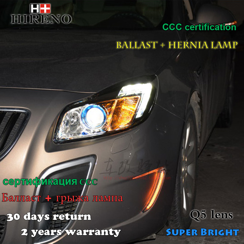 Hireno Headlamp for 2009-2013 Buick Regal Opel Insignia Headlight Assembly LED DRL Angel Lens Double Beam HID Xenon 2pcs hireno headlamp for 2003 2009 toyota land cruiser prado headlight assembly led drl angel lens double beam hid xenon 2pcs