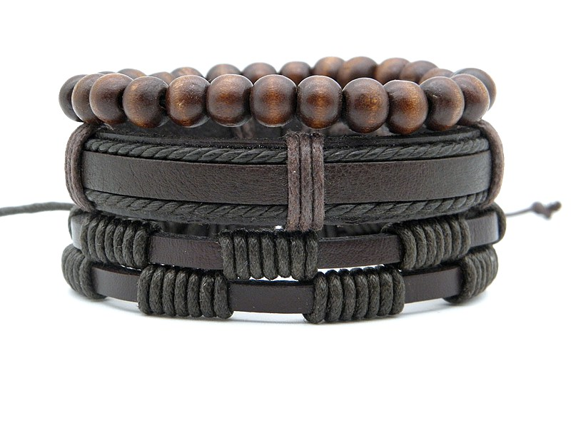 Stylish leather Braid Hemp bracelets Men's Women's Handmade Wood Beads leather Wrap Combined bracelets Jewelry Gifts 3pcs/set 8