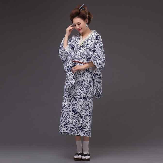Màu xanh Và Trắng Phụ Nữ Cotton Kimono Yukata Với Obi Nhật Bản Buổi Tối Ăn Mặc Khiêu Vũ Váy Biểu Diễn Hoa Một Kích Thước WK067