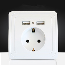 16A EU Standard Electrical Outlet With 2100mA Dual USB Charger Port for Mobile,Wholesale Wall Power Socket Plug Grounded
