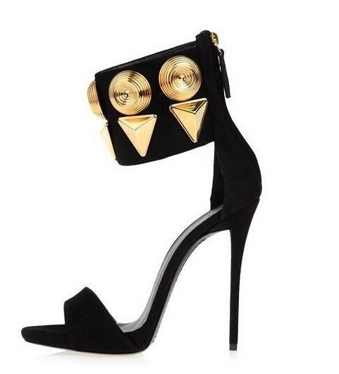 Gold Sequined Dress Shoes Hot Selling Black Suede Leather Ankle Cuff Sandals High Heel Cut-out Thin Heel Sandals For Woman hot selling crystal summer dress shoes black pink beige suede leather ankle strap cut out sandals high heel t bar real photo