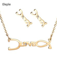 Eleple Medical Stethoscope LOVE Stainless Steel Necklace EarNail Set Women Romantic Valentine Gifts Jewelry Wholesale S-S008