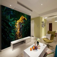 Free Shipping 3D Wallpaper Jungle Tiger Painting Background Wall Living Room Wallpaper Custom Studio Office Mural