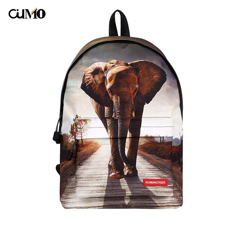 Ou Mo brand Print animal teenagers Boys/Girls Schoolbag computer laptop anti theft backpack feminina Women Bag man