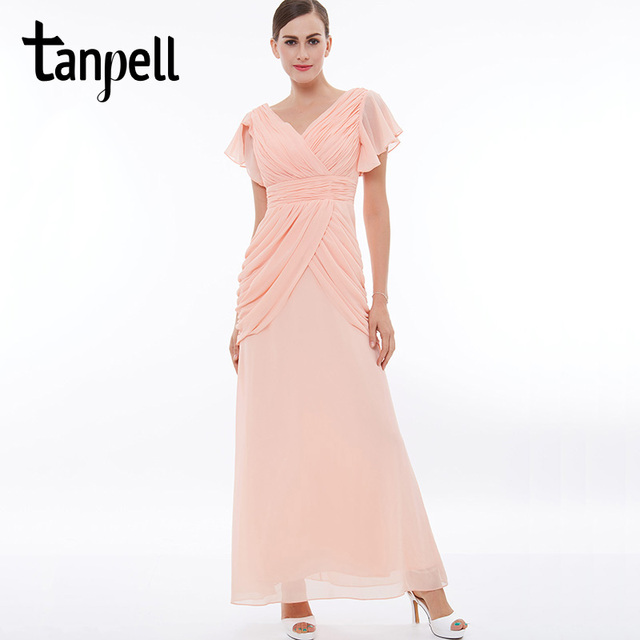 Tanpell ruched prom dress pink v neck short sleeves floor length a ...