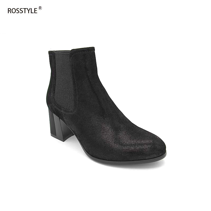 Rosstyle Girls Full Grain Leather-based Ankle Boots Electroplate Laser Carving Excessive Heel Girls Footwear Dazzle Black Nubuck Sheep SkinB19 Ankle Boots, Low cost Ankle Boots, Rosstyle Girls Full Grain...