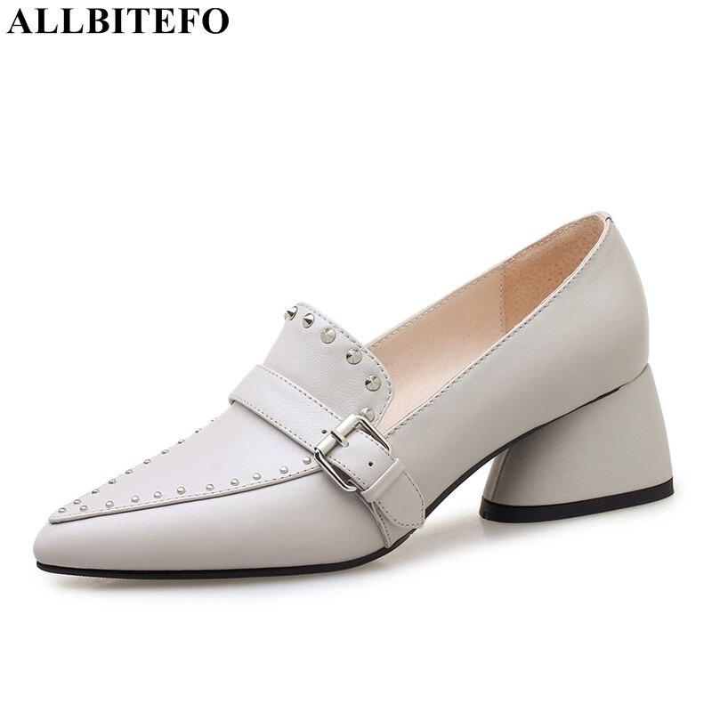 ALLBITEFO fashion rivets full genuine leather high heels women shoes British style women high heel shoes