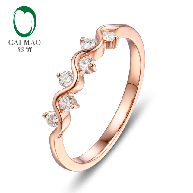 Unplated 14 К золото природных 0.23ct бриллиантовое обручальное кольцо, Оптовая продажа ювелирных изделий
