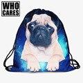 Pug dog 3D printing mini backpack women who cares 2016 new drawstring bag String Rucksack mochila feminina Travel sac a dos bags