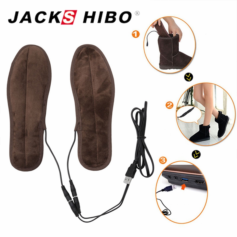 JACKSHIBO Winter Heated Insoles Men Women Heated Shoe Inserts USB Charged Electric Insoles for Shoes Boot Keep Warm Insoles