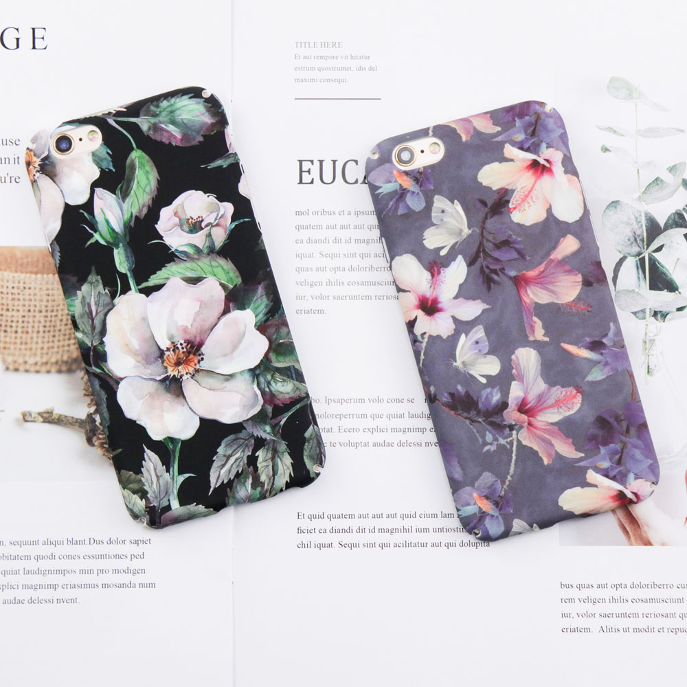 Romantic White Flower Leaf plant PC case For iphone 6 Case For iphone 7 6 6S 8 Plus Case Fashion Classic Floral Phone Back Cover
