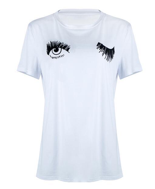 Cartoon women 2018 eyes summer casual short-sleeved T-shirt white blinking print cute Harajuku large size S-2XL T shirt