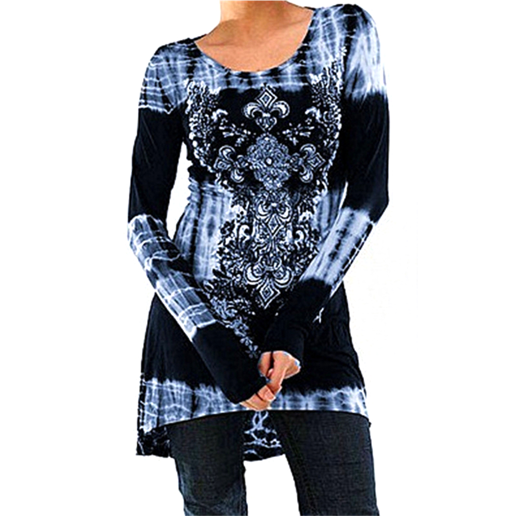 Vintage Floral Printed Women Tunic Tops Plus Size 3XL 4XL Casual Loose Long Sleeve Ladies Tops Blouse Shirt Blusas Femininas