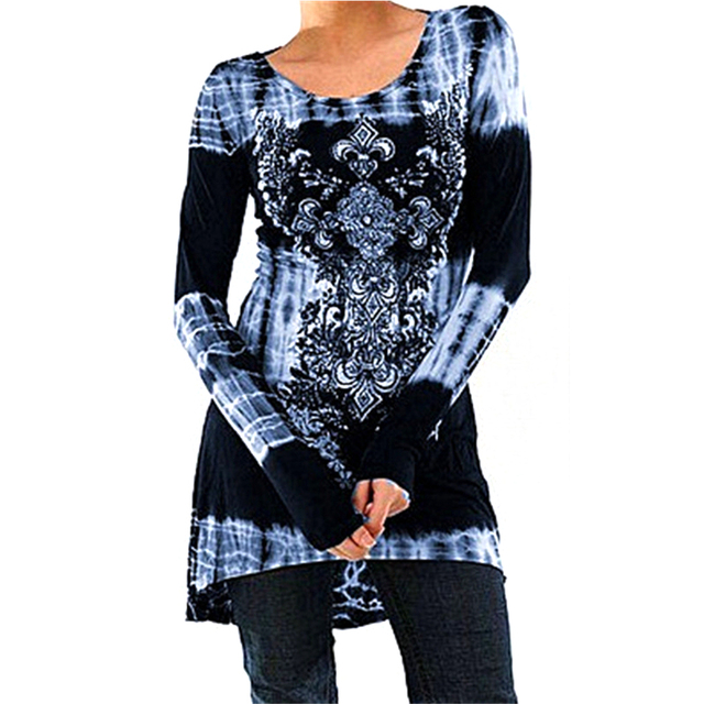 4fddf618eb Vintage Floral Printed Women Tunic Tops Plus Size 3XL 4XL Casual Loose Long  Sleeve Ladies Tops