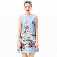 1a91daa50 Summer Women S New Dress Retro Garden Printed Vest Dress Round Neck  Sleeveless Beaded A Line