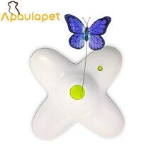 APAULAPET игрушка для домашних животных, Интерактивная электрическая бабочка, вращающаяся бабочка, игрушки для кошек