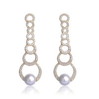 Blucome Luxury CZ Zircon Copper Long Drop Earrings For Women Simulated Pearls Silver Gold Color Wedding
