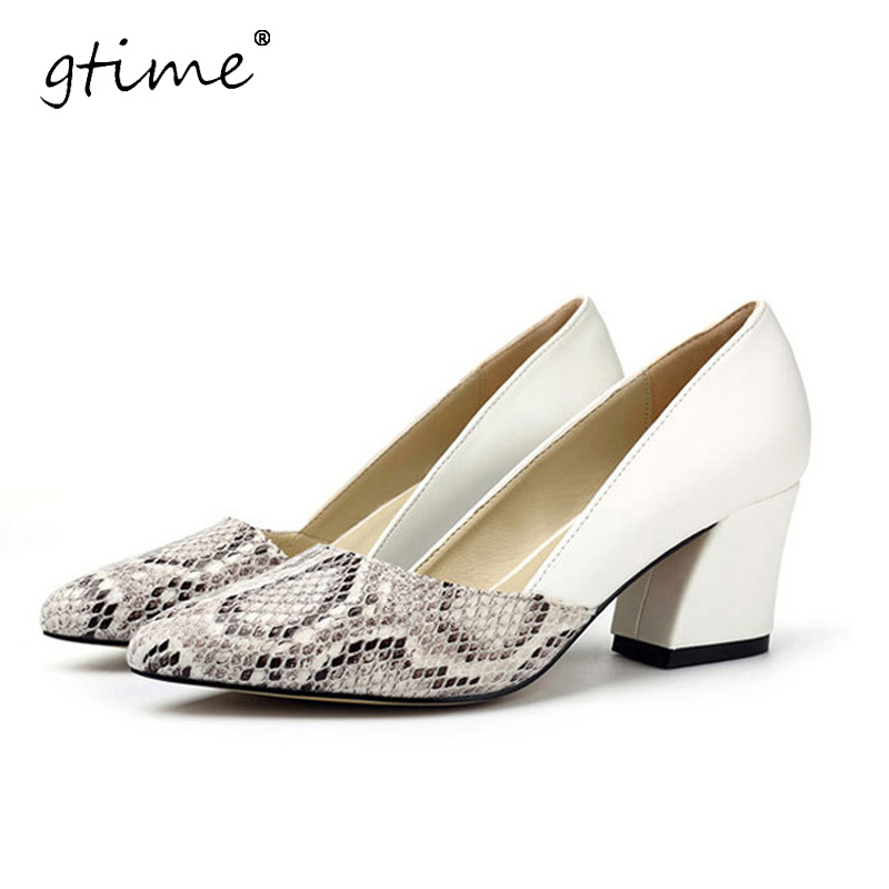 GTIME Snakeskin Pattern Women Pumps Sexy Pointed Toe Microfiber Leather High Heels Shoes Woman Zapatos Mujer Tacon #ZWS25 7 colors new sexy women pumps shoes high heels tacon alto bride wedding zapatos mujer pointed toe sweet bowtie women shoes