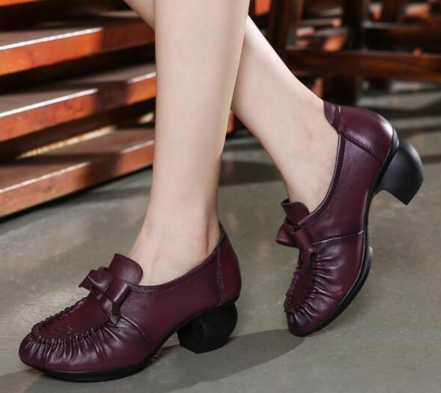 Main La En National Style Simples Cuir purple Rétro Chaussures Original À Black Arc Des Épais Vache De Femmes Avec XFwPIqxP