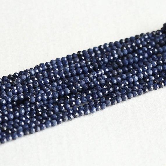 Sapphir naturais Genuíno Azul e contas Redondas Soltas, blue Gem pedra Facetada Contas Pequenas 2mm 3mm 4mm