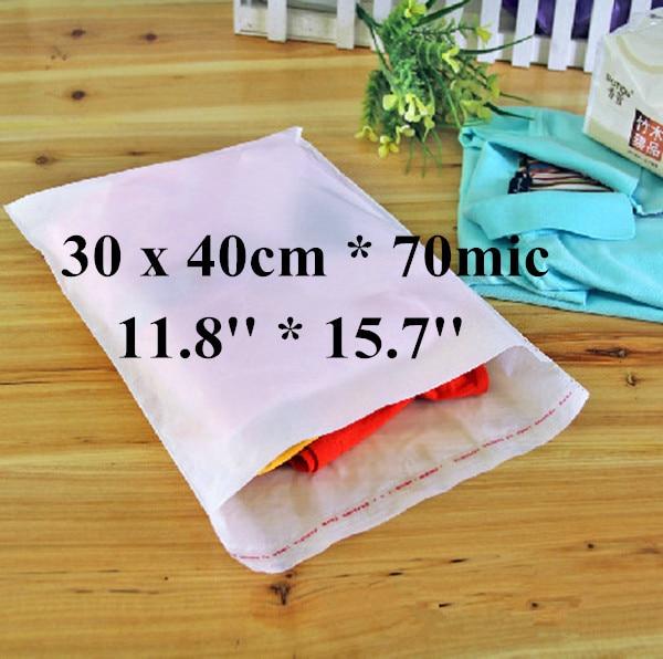 Free Shipping 200pcs/lot 30 x 40cm*70mic Self Adhensive Plastic Clothes Packaging Bag, High Quality White PE Clothing Bag