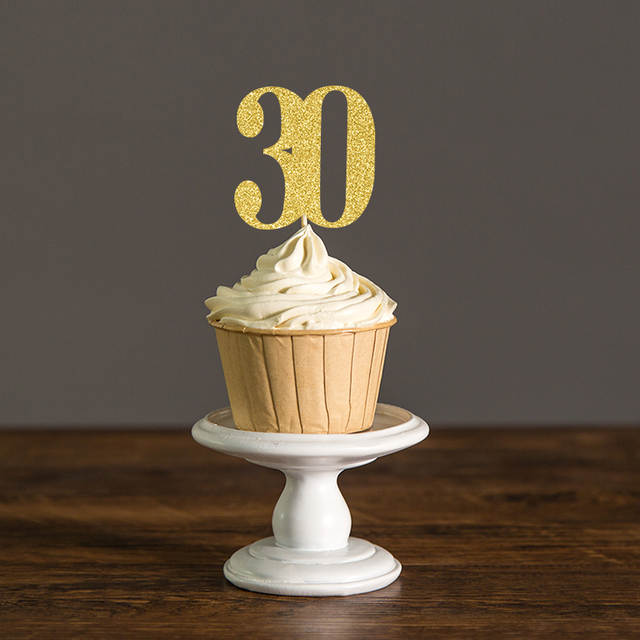 Online Shop Thirty Birthday Decorations30th Cupcake Toppers Food PicksAnniversary Party Decor Black And GoldSilver Glitter Cake Accessory