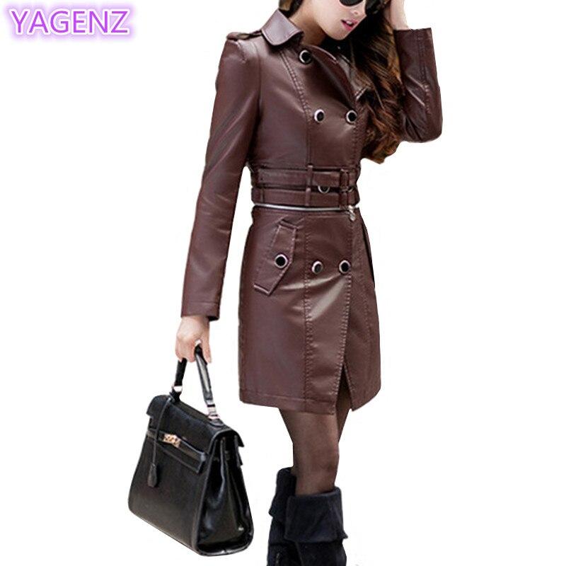 YAGENZ Ladies   leather   Jackets Autumn Coats Women Coat Fashion suit collar   leather   Long Coat Locomotive skin Can be split coat 84