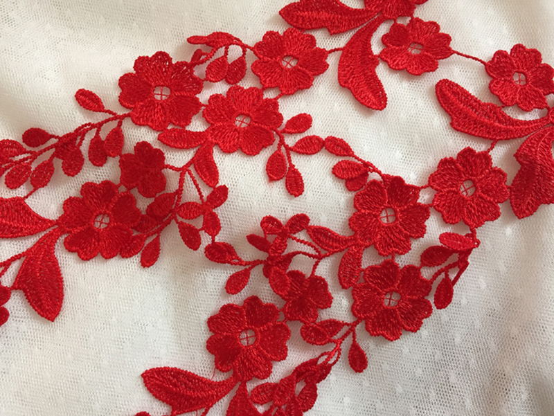 10Pieces White Red Appliques Lace Applique Venise Patches Bridal Embroidered Applique Motif For For Dress Supplies Headpiece in Lace from Home Garden