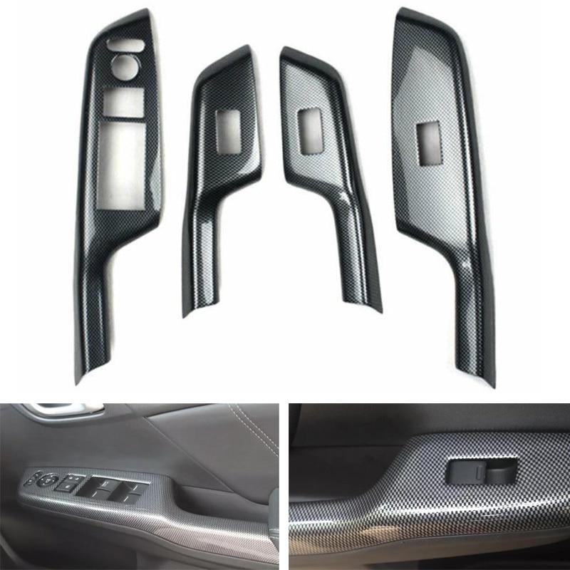 Carbon Fiber Style Car Accessories For Honda Civic 9th 2012 2013 2014 RHD Car Door Armrest