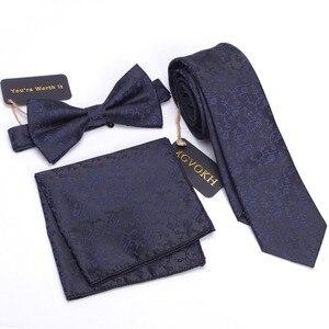 Image 5 - 3 PCS Men NeckTie Set Bowtie Slim Necktie high quality Slim Skinny Narrow Men Tie dress Handkerchief Pocket Square Suit Set
