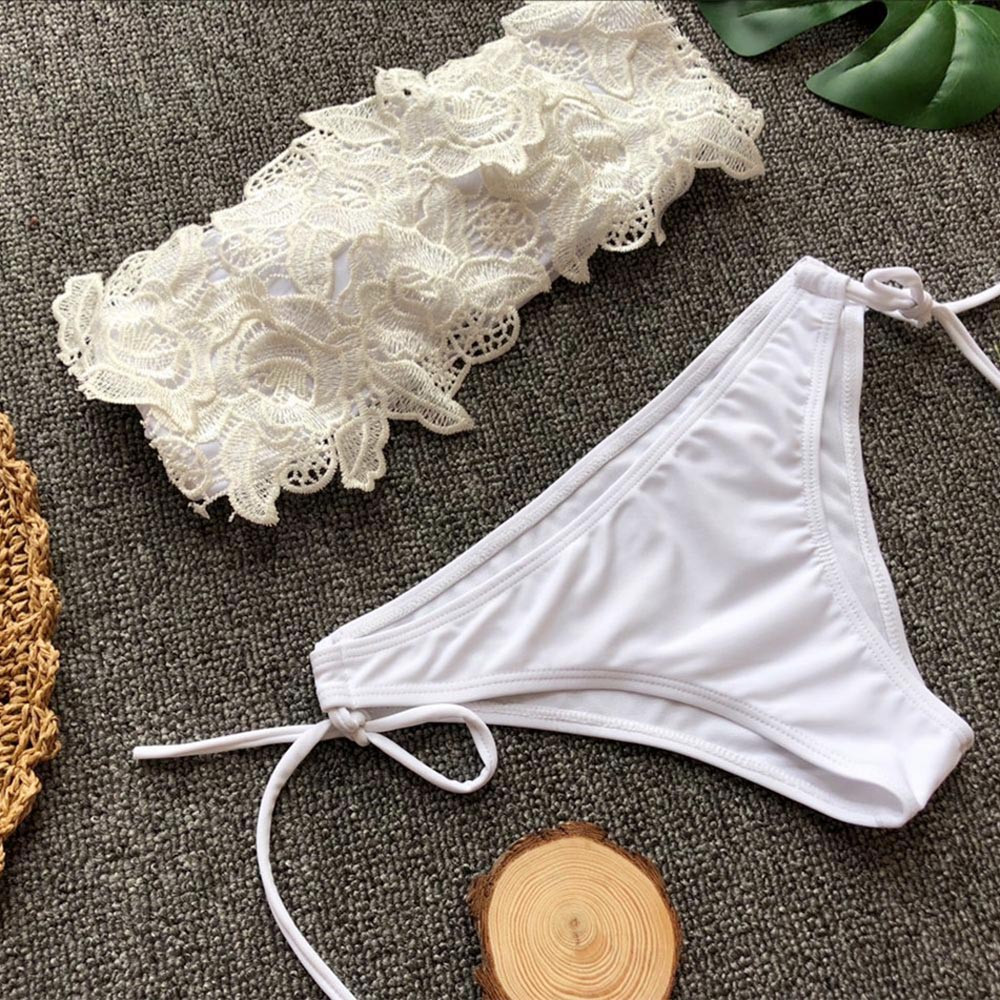 HTB1dtmCt29TBuNjy0Fcq6zeiFXaS - White tube top lace flower split swimsuit  2 piece set women swimming suit Solid color strap flowers beach swimwear Y-NEW