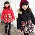 2016 Цветочный хлопок зимняя куртка пальто пункт девочек одежда пальто шить пункт куртки хлопка 4-6-8-10 лет