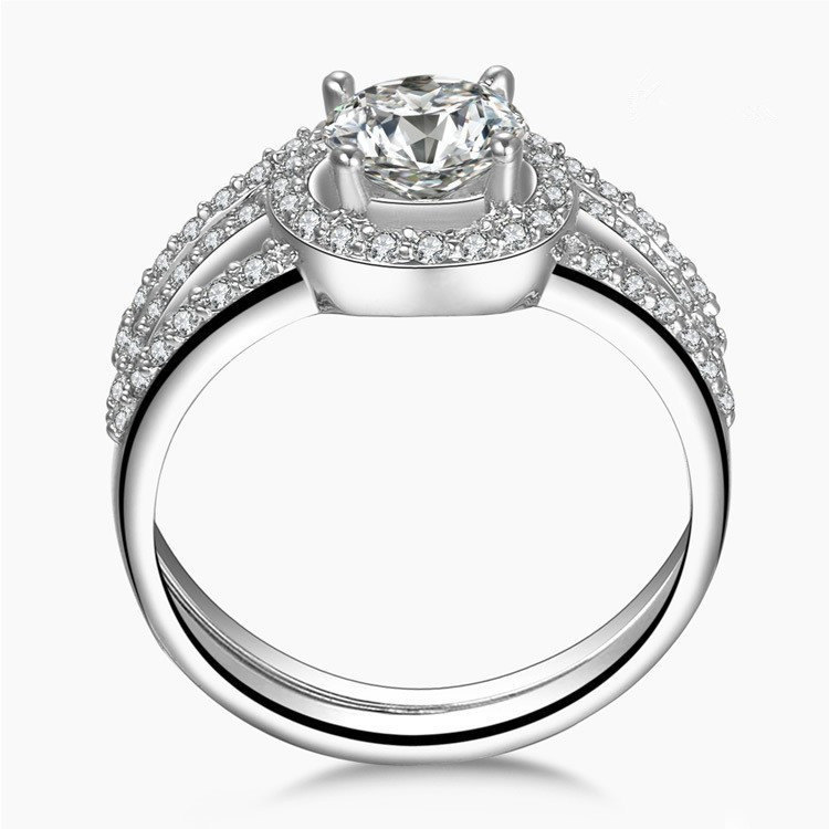 Solid White Gold Rings Set Moissanite 1CT Engagement Ring Semi Mount