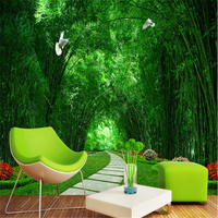 Custom New Wallpaper Modern Wallpaper Bamboo Forest Park Green Road 3d Landscape Background Wall Background Painting